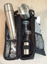 Black Lunch Bag Steel Soup Thermos Cups Plastic Silverware Napkin in Oswego, Illinois