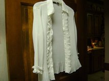 Figure Hugging Creamy White Ruffled Blouse - Size XL in Kingwood, Texas